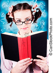 Bright Cute Girl Studying Education Textbook - Creative...