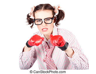 Determined young woman in boxing gloves - Fun image of a...