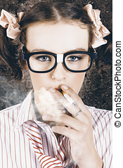 Edgy grunge portrait of a smoking hipster nerd - Edgy grunge...