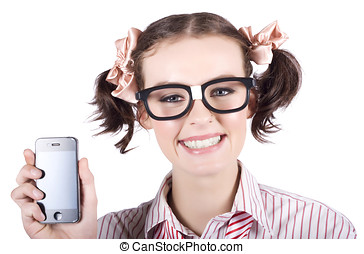 Technology savy business woman with mobile phone - Young...
