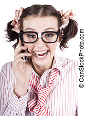 Female Business Person Selling On Smart Phone - Face Of A...
