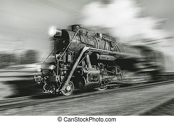 Old retro train - Old retro train with steam locomotive...