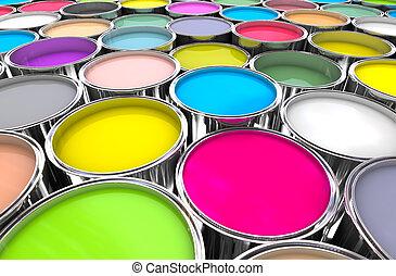 colours paint can background - 3d image of 3d paint tank...