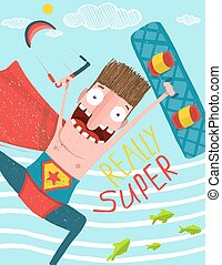 Kitesurfing caricature superman cartoon card design - Hero...