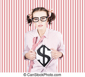Female Business Superhero Showing Dollar Sign - Cute Female...