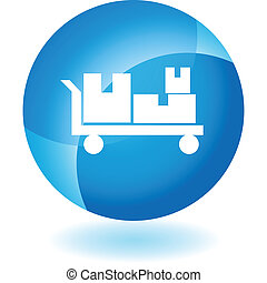 Flatbed Cart Icon - Flatbed cart icon isolated on a white...