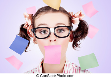 Business Womans Face Covered In Paper Reminders - Business...