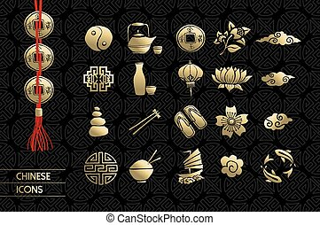 Gold chinese culture icon set