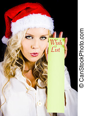 Sexy Xmas Woman Holding Christmas Wish List Sign -...