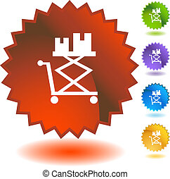 Flatbed Lift Cart Icon - Flatbed lift cart icon isolated on...