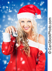 Female Santa Claus Christmas Shopping Online - Blonde...