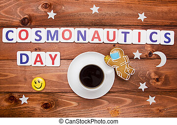 Creative Photo Cosmonautics Day of cookies and cups of...