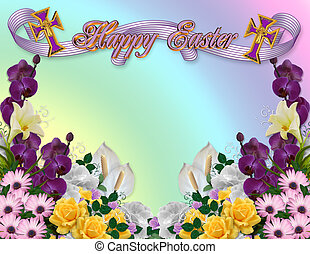 Easter floral border - Image and illustration composition...