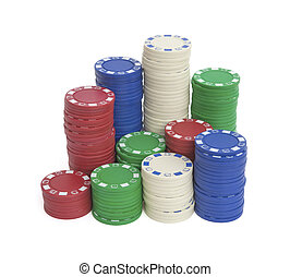 lots of casino chips on white with clipping path