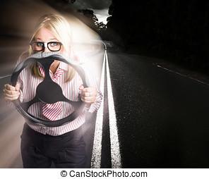 女, 運転, ビジネス, 自動車, 速い, ライト, 道