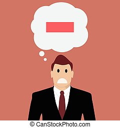 Businessman with negative thinking. Vector Illustration