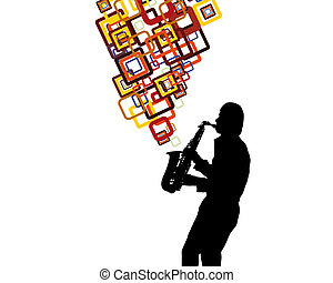 saxophonist - Jazz saxophonist theme Vector illustration for...