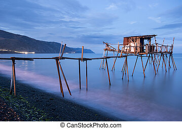 Fishing Pier and Smooth Ocean at Sunrise, Old Wood Pier -...
