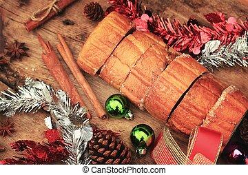 Chocolate cake yule log