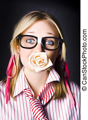 Romantic Nerd Flower Girl With Expression Of Love - Silenced...