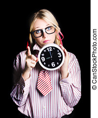 Time management business person signalling time up - Brainy...