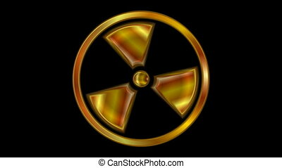 Radioactive symbol video animation. Seamless loop -...