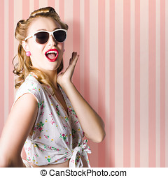 Surprised Girl In Retro Fashion Style Glamur - Surprised...