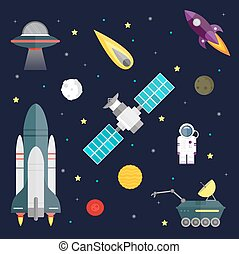 Space travel symbols infographic. Cosmos vector...