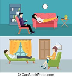 Psychologist office cabinet room vector illustration....