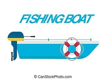 Fishing boat ship vector illustration. Fishing boat flat...