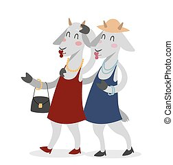 Goat girls couple friends vector portrait illustration on...