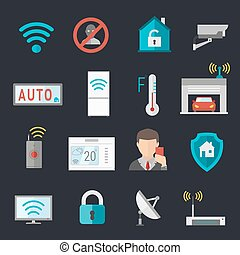 Remote home control system Smart House vector illustration....
