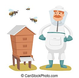 Apiary beekeeper vector illustrations. Apiary vector...