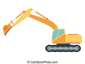 Building under construction excavator technics vector...