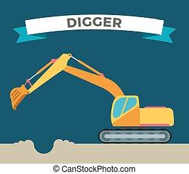 Building under construction excavator technics vector...