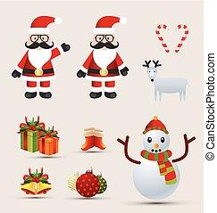 Christmas element design vector set