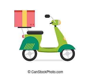 Delivery vector transport moto bike motorcycle box pack...