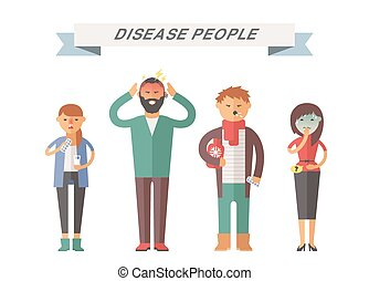 People ill vector illustration Seasonal virus attack People...