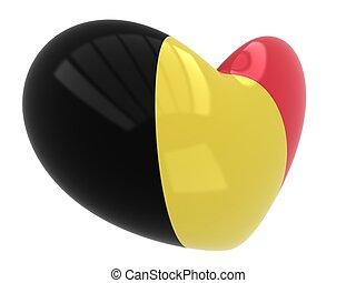 Heart shape of Belgium flag