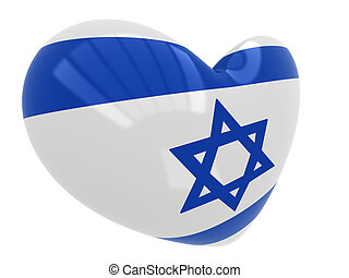 Heart with Israel flag colors isolated on white background