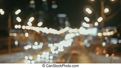 Night Traffic Lights Of The Big City - Multicolored...