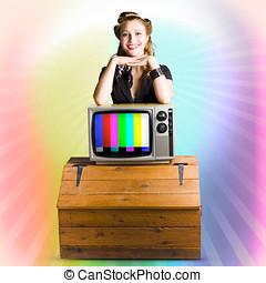 mulher, cor,  tv,  retro,  pinup, tecnologia, esperto