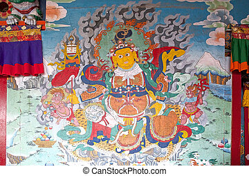 Phodong Monastery, Gangtok, Sikkim, India - Ancient mural...