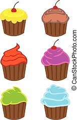 Colorful Cupcakes with Different Flavors Vector Cartoons