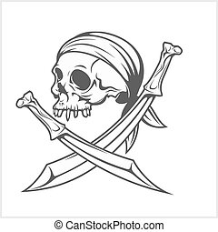 Pirate Skull in Headband with Cross Swords on white...