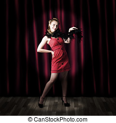Theater Performer In Front Of Red Stage Curtains - Showgirl...