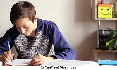 Teenager boy doing homework - Teenager sitting at table at...