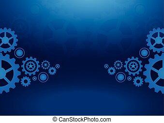 Cogs wheels blue dark background