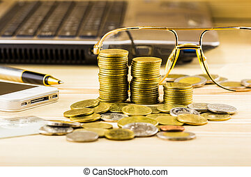 selective focus of golden coins and the accessory of...