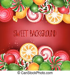 Sweets background with orange slice
